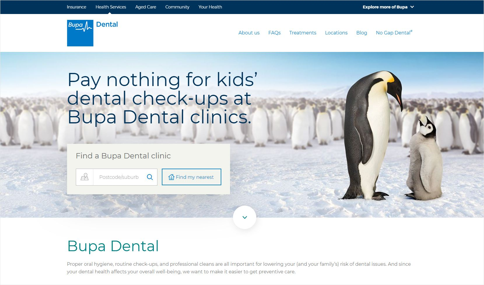 Bupa Dental Home Page
