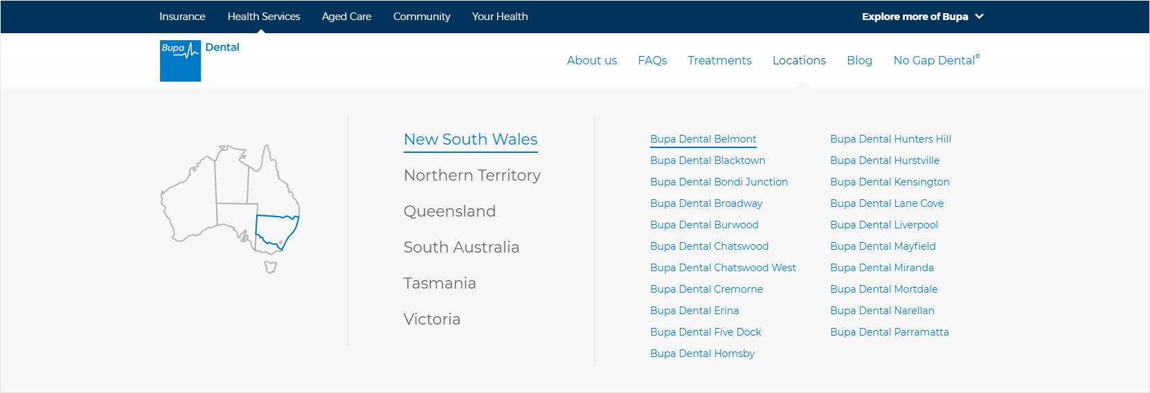 Bupa Dental Mega Menu Locations