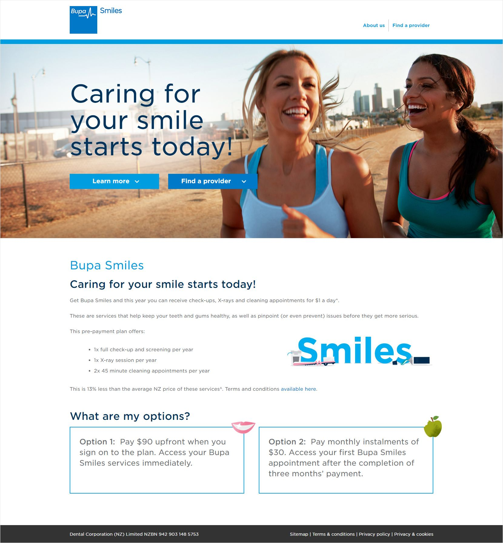 Bupa Smiles Home Page